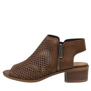 Shoes - size 7 Brown Peep Toe Perforated Zipper boot